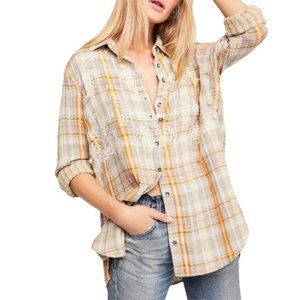 FREE PEOPLE Magical Plaid Embroidered Top